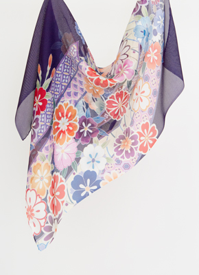 紫絹に短冊
